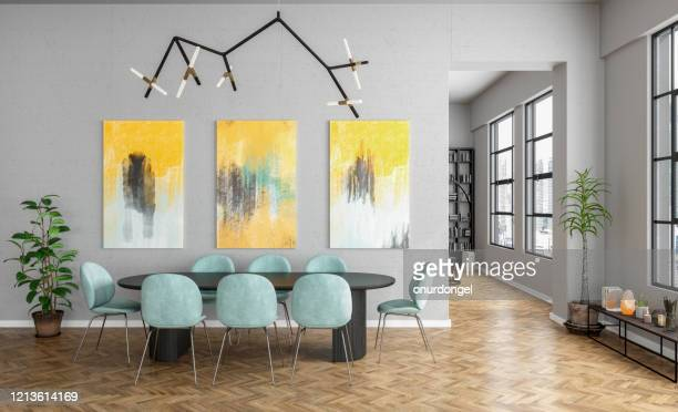 modern dining room - dining room stock pictures, royalty-free photos & images