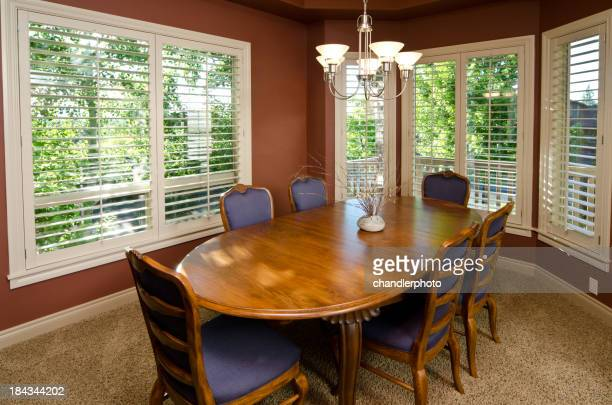 Modern dining room with carpet