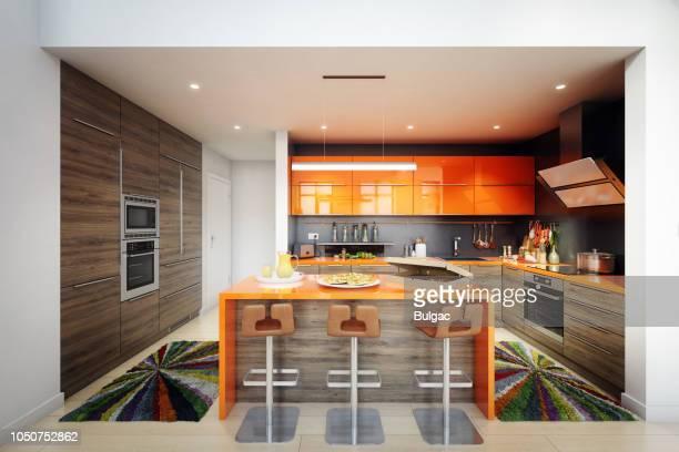 interior da moderna cozinha doméstica - bancada de cozinha mobília - fotografias e filmes do acervo