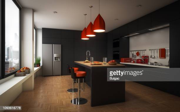 modern domestic kitchen - domestic kitchen stock pictures, royalty-free photos & images