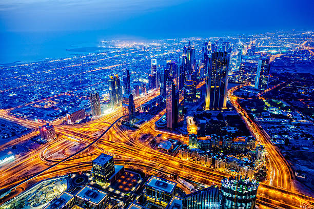 Modern Dubai Cityscape At Twilight, United Arab Emirates Wall Art