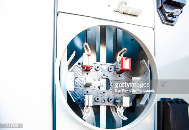 modern electrical box at construction site - electrical panel box stock pictures, royalty-free photos & images