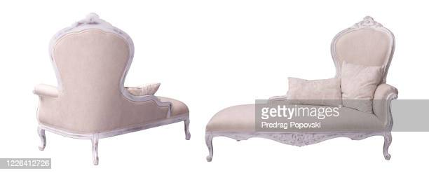 modern elegant crown sofa isolated on white background - two seater sofa stock pictures, royalty-free photos & images