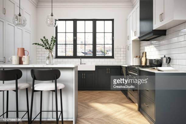 moderne elegante küche stock foto - küche stock-fotos und bilder