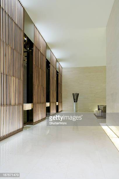 modern elevator lobby - corridor stock photos and pictures