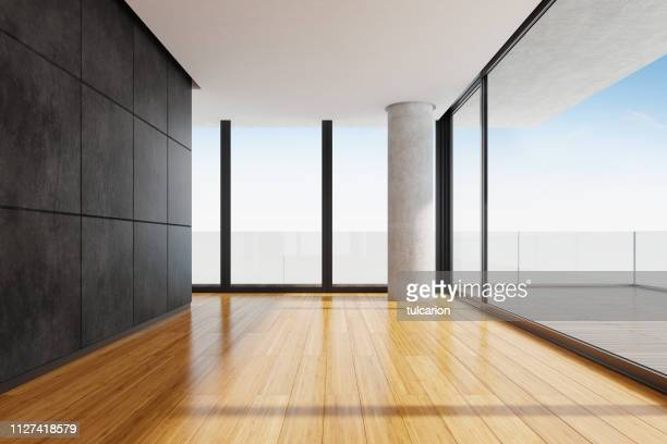 modern empty apartment living room with panoramic view - wide shot stock pictures, royalty-free photos & images