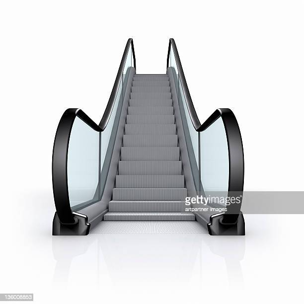 modern empty escalator on white background - escalator stock pictures, royalty-free photos & images