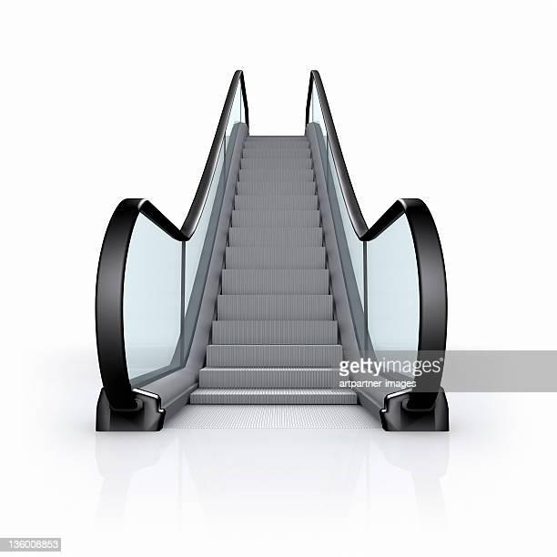 Modern empty escalator on white background