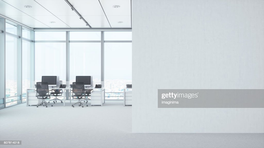 Moderne leeren Büroraum mit weißen leere Wand : Stock-Foto