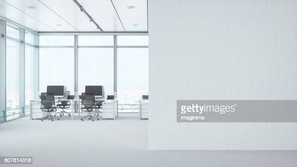 modern empty office room with white blank wall - white stock pictures, royalty-free photos & images