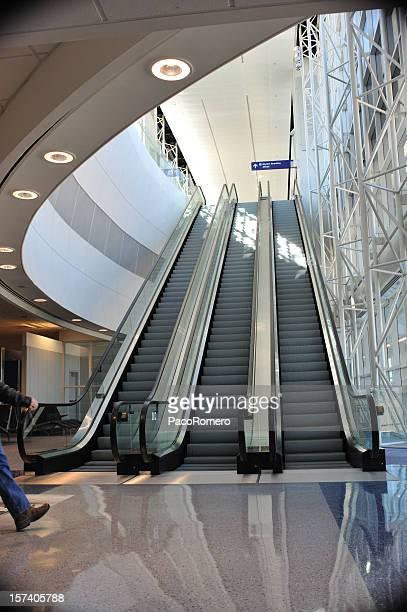 Modern escalator in airport