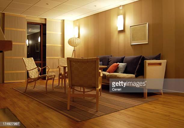 モダンなヨーロッパ/スカンジナビア様式のリビングルーム