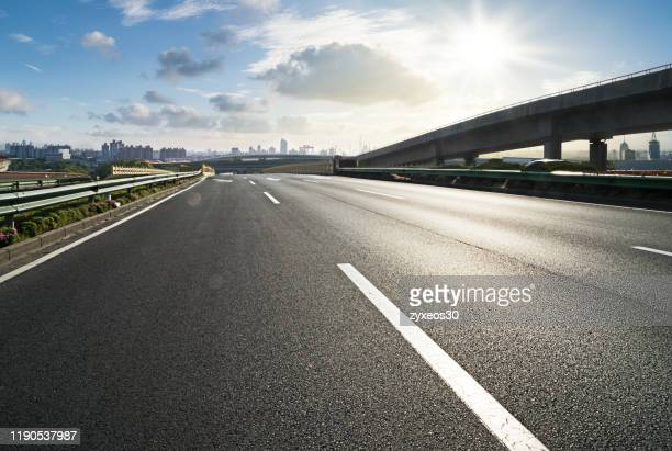 modern expressway viaduct in pudong,shanghai. - multiple lane highway stock pictures, royalty-free photos & images