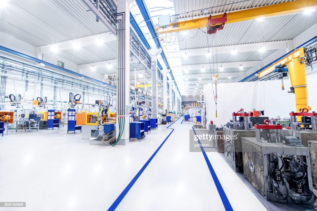 Modern factory & aisle : Stock Photo