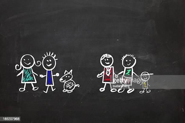Familles modernes tirées sur un tableau noir avec craie