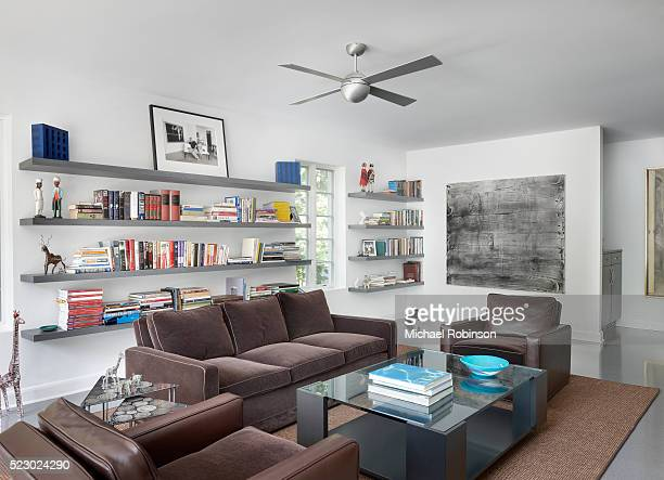 modern family room with books and artifacts, chicago il - michael robinson stock pictures, royalty-free photos & images