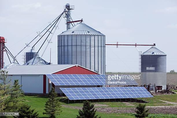 Modern Farm with Grain Elevator and Solar Panels