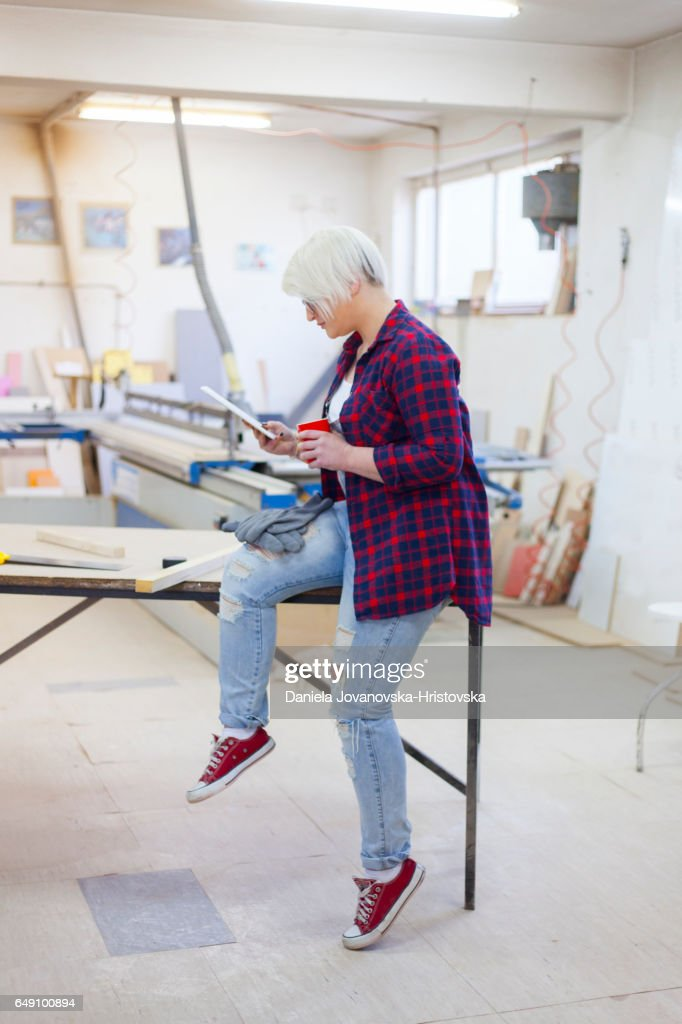 modern female carpenter : Stock Photo