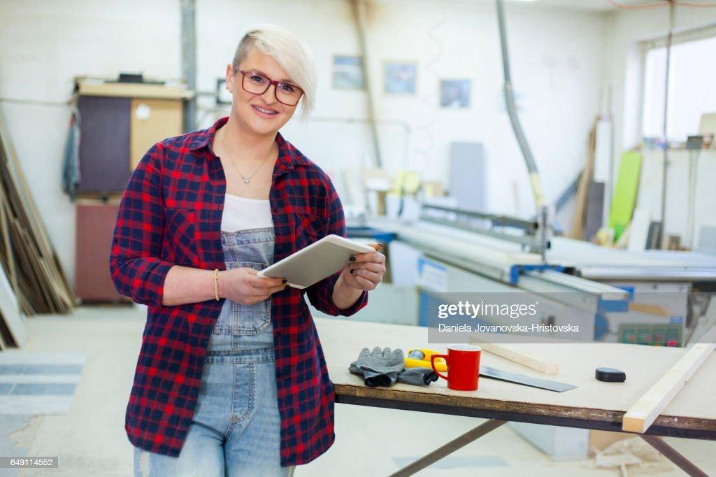 modern female carpenter : Stock Photo