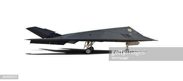modern fighter plane with clipping path - stealth bomber stock photos and pictures