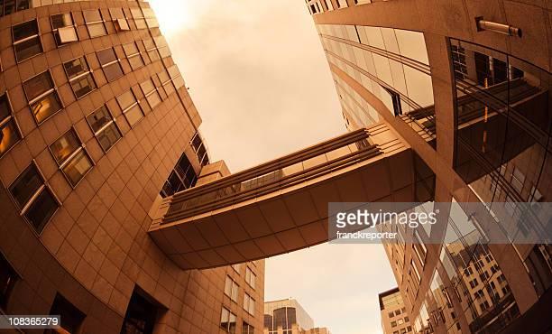 Modern financial district building - Scyscraper with bridge