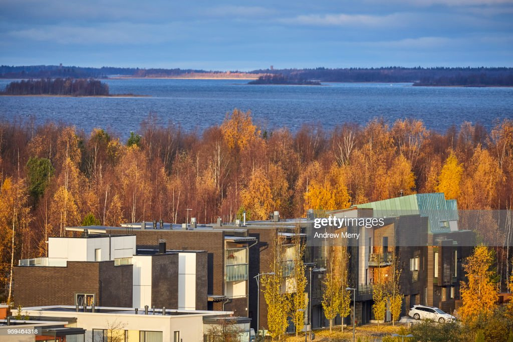 Modern Finnish houses and apartments in autumn, Oulu, Finland : Stock Photo