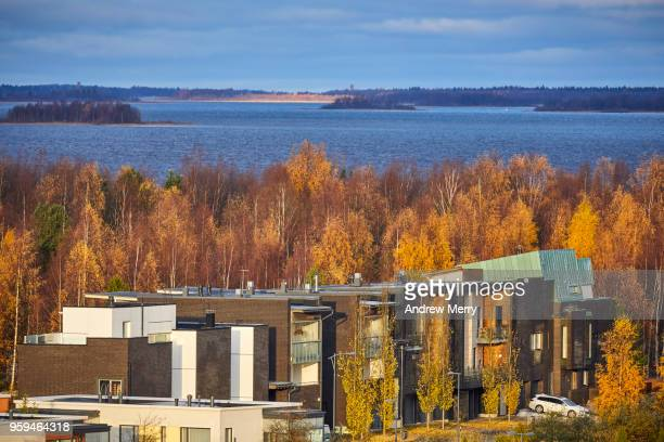 Modern Finnish houses and apartments in autumn, Oulu, Finland