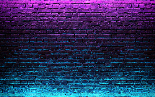 Modern futuristic neon lights on old grunge brick wall room background. 3d rendering 1151380473