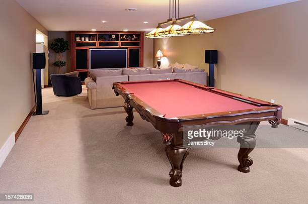 modern game room; pool table, custom lighting, hdtv, surround sound - finishing stock pictures, royalty-free photos & images