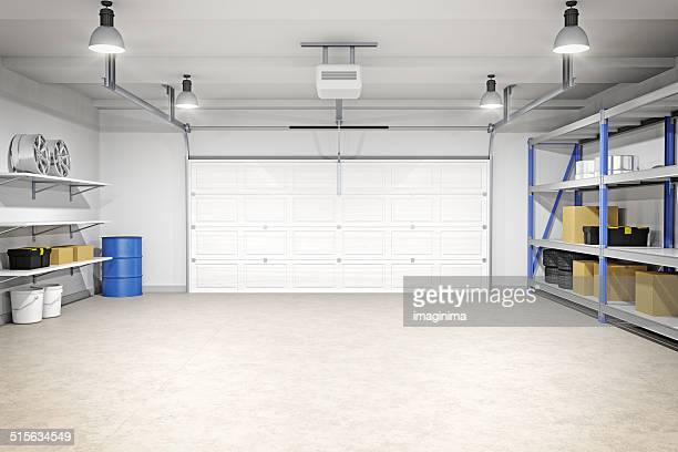 modern garage interior - flooring stock photos and pictures