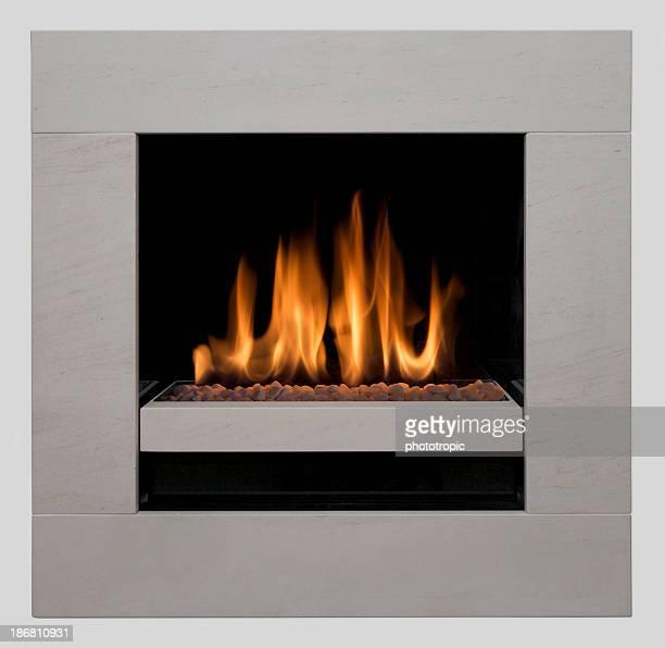 Moderne, cheminée à gaz, carrée composition