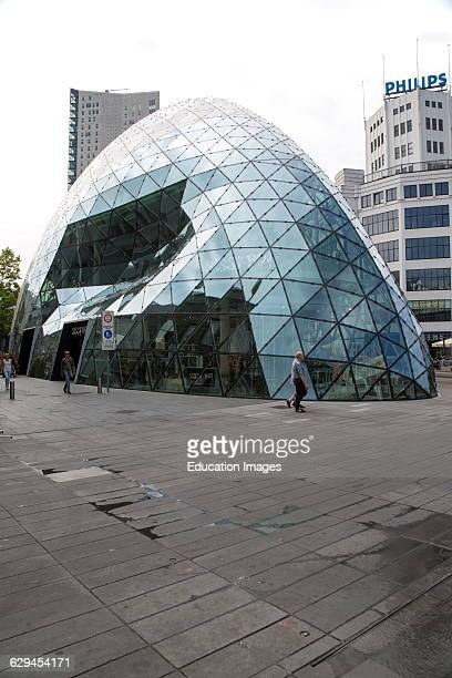 Modern glass dome and Philips building Eindhoven city center North Brabant province Netherlands