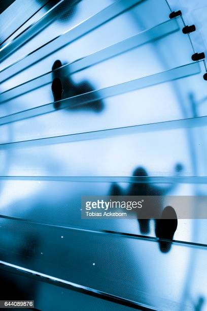 modern glass spiral staircase in business office - metallic shoe stock pictures, royalty-free photos & images