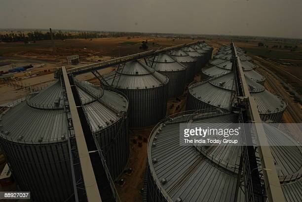 Modern Grain Silos constructed by the Adani Group near Moga in Punjab India