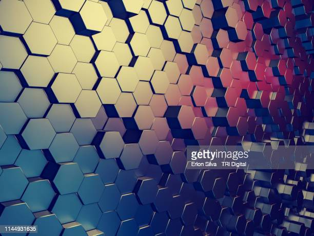 modern graphic background made of metal hexagon shape - elemento de desenho - fotografias e filmes do acervo