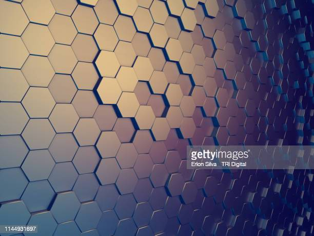 modern graphic background made of reflective hexagon shape - elemento de desenho - fotografias e filmes do acervo