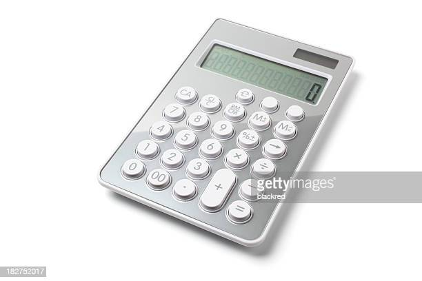 modern gray calculator on white background - calculator stock photos and pictures