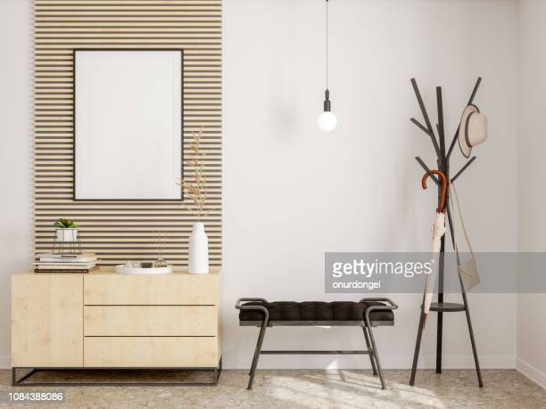 modern hallway interior with frame, hanging umbrella and shoe cabinet - entrata foto e immagini stock