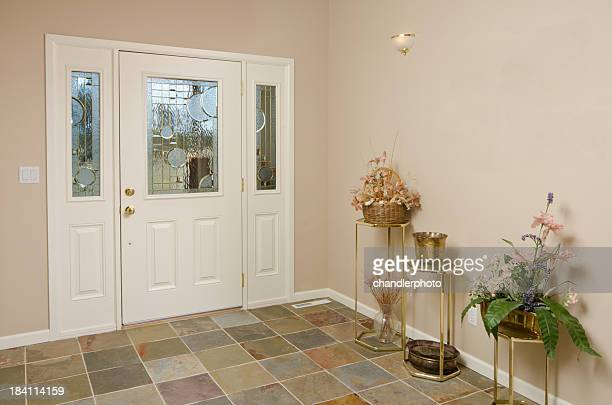 Modern hallway with tile floors
