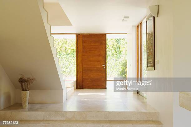 Modern hallway with wooden door