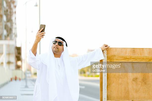 Modern Handsome Arab Taking Selfie