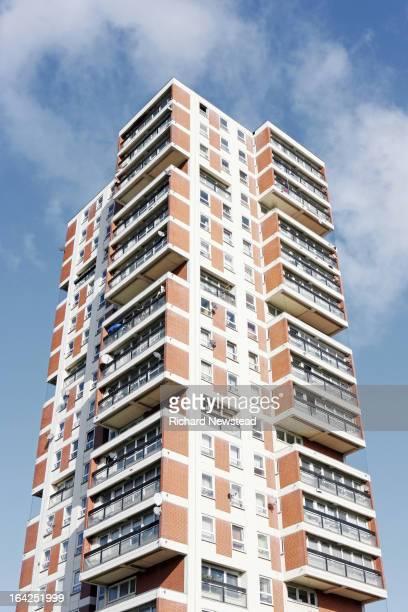 Modern high rise flats, North London. 27th October 2012.