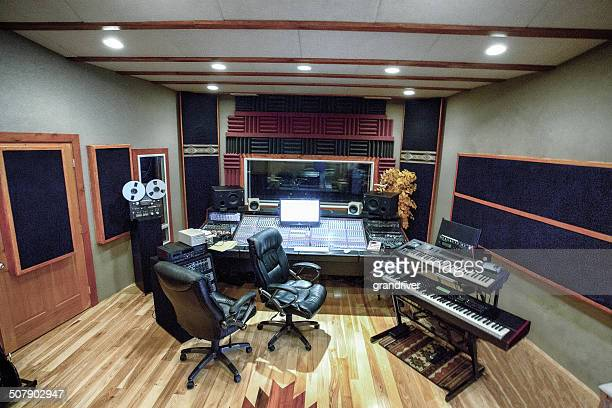 modern high tech recording studio wide angle - recording studio stock pictures, royalty-free photos & images