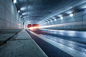 Modern highway tunnel underpass