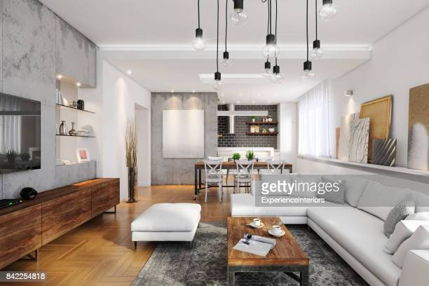 modern hipster apartment interior - living room stock pictures, royalty-free photos & images