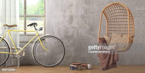 Interior moderno hipster con colgante silla ventana y cortinas con pared de espacio de copia