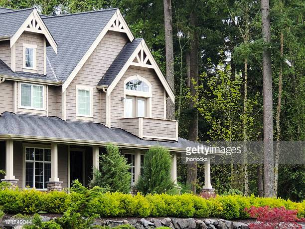 modern home exterior - eaves stock photos and pictures