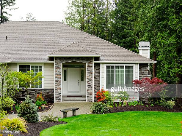 modern home exterior - stone object stock pictures, royalty-free photos & images