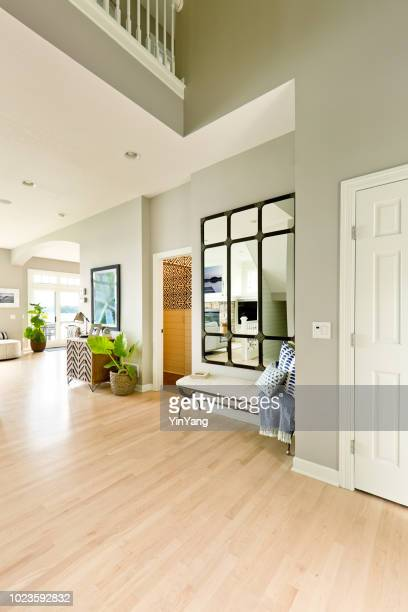 modern home front door and entrance hallway foyer interior design - entrance hall stock pictures, royalty-free photos & images