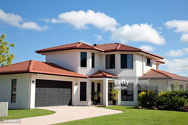 modern home front - landscaped stock pictures, royalty-free photos & images